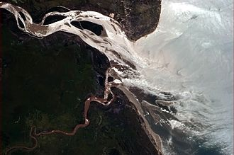 Beira, Mozambique - Beira, at the mouth of Rio Púnguè, as seen from the International Space Station
