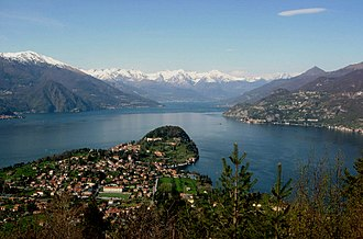 Lake Como - Panoramic view of Lake Como with Alps and Bellagio