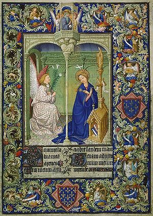 Belles Heures of Jean de France, Duc de Berry - Illuminated manuscript page illustrating the Annunciation from the Belles Heures du Duc de Berry.