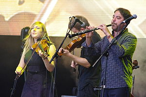 Bellowhead - From left to right: Rachael McShane, Sam Sweeney, Paul Sartin.