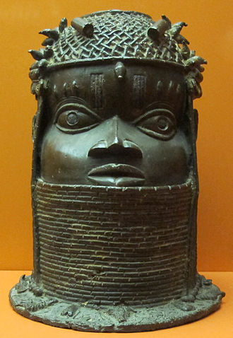 Ewuare - A Benin Bronze head for display at a shrine to the Obas, a tradition started under Ewuare