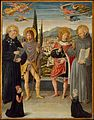 Benozzo Gozzoli - Saints Nicholas of Tolentino, Roch, Sebastian, and Bernardino of Siena, with Kneeling Donors.jpg