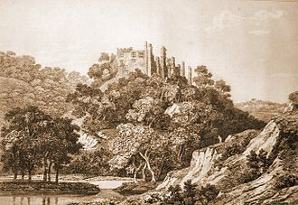 Berry Pomeroy Castle - An etching of Berry Pomeroy Castle from 1822