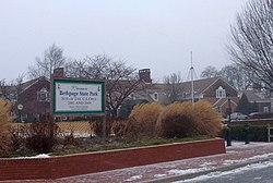 Bethpage State Park, located almost entirely in Old Bethpage, just outside the Village of Farmingdale, is served by the Farmingdale Post Office.