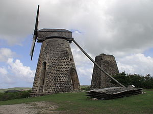 Betty's Hope - One of the two restored windmills fixed with the sails
