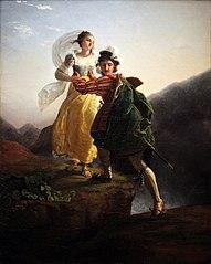 Bianca Cappello et son amant fuyant vers Florence à travers les Apennins