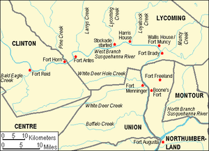 Big Runaway - Map of fortifications and streams in north-central Pennsylvania during the Big Runaway. Modern county borders are shown for orientation.