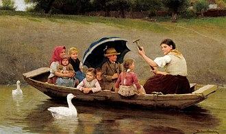 Sándor Bihari - Image: Bihari Boating on the River Zagyva 1886