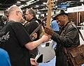 Bill Dickens checks out a Regenerate bass - 2014 NAMM Show.jpg