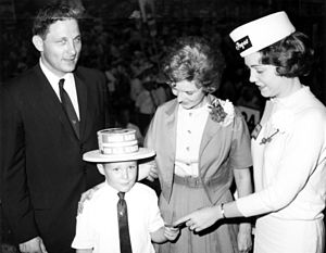 Birch Bayh - Bayh with son Evan Bayh, wife Marvella and an unidentified woman, 1962.