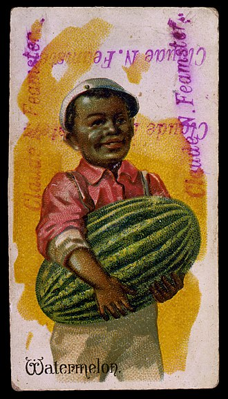 Watermelon stereotype - Image: Black boy carrying a watermelon lithograph