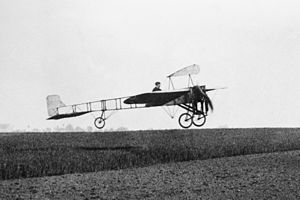"Blériot XI - Blériot XI as first built: note small ""teardrop"" profile fin on cabane"