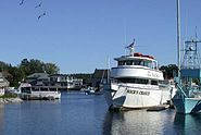 Boats on the Kennebunk River at Kennebunkport, Maine