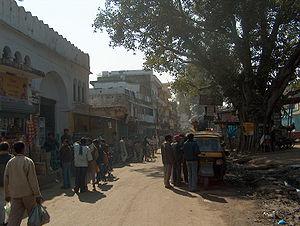बोधगया की एक सड़क का दृश्य