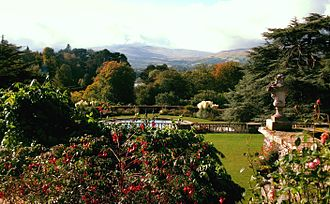 Bodnant Garden - View of mountains from The Terraces at Bodnant Garden