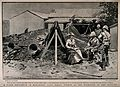 Boer War; three soldiers with a grand lady outside her bomb- Wellcome V0015621.jpg