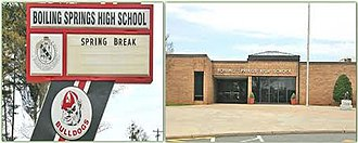 Boiling Springs High School (South Carolina) - Old sign and front of school.