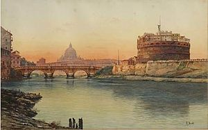 Canuto Borelli - View of Rome with the Castel Sant'Angelo