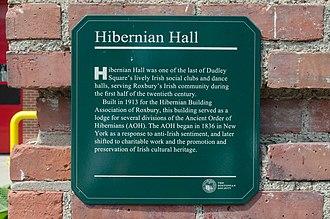 Hibernian Hall (Boston, Massachusetts) - Image: Boston Hibernian Hall plaque