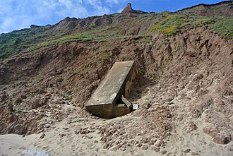 Boulder clay - WWII pillbox on eroding Boulder Clay, Filey Bay, North Yorkshire.