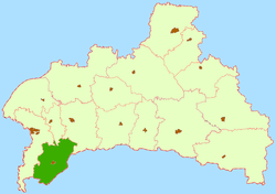 Location of Malaritas rajons