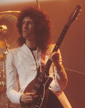 "Keep Yourself Alive - Brian May, writer of ""Keep Yourself Alive"", performing live with his Red Special guitar in 1977"