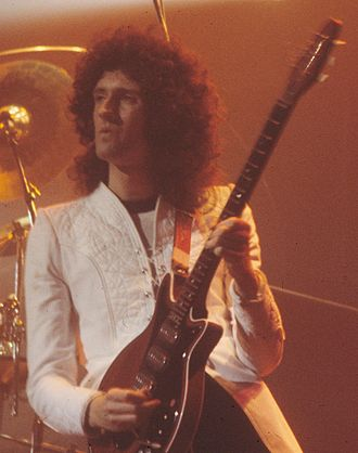 """Keep Yourself Alive - Brian May, writer of """"Keep Yourself Alive"""", performing live with his Red Special guitar in 1977"""