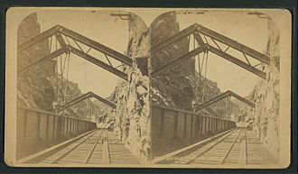Royal Gorge Route Railroad - Hanging Bridge, ca. late 19th century.