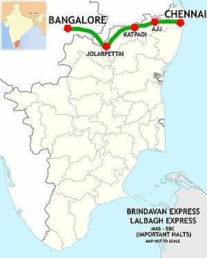 Chennai Central–Bangalore City line - Chennai-Bangalore route map