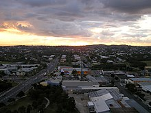 Brisbane seen from air, sunset.jpg