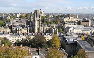 University of Bristol - Most of the buildings here are used by the university. The Wills Memorial Building is left of centre. Viewed from the Cabot Tower on Brandon Hill