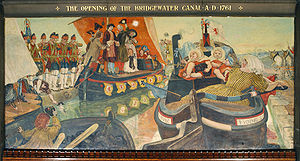 Bridgewater Canal - The Opening of the Bridgewater Canal A.D. 1761 by Ford Madox Brown, one of The Manchester Murals at Manchester Town Hall