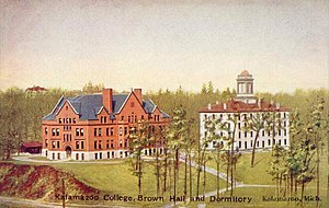 Kalamazoo College - Brown Hall and dormitory in 1906