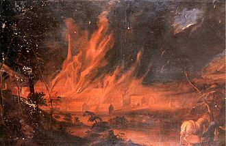 Salem Abbey - Andreas Brugger: Great fire of Salem, 9 March 1697. Oil painting.