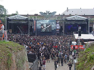 Brutal Assault - Brutal Assault 2012. The two main stages are built against the walls of Josefov Fortress.