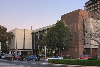 City of Bankstown - The three-storey complex of Central Bankstown Library, opened in 1983.