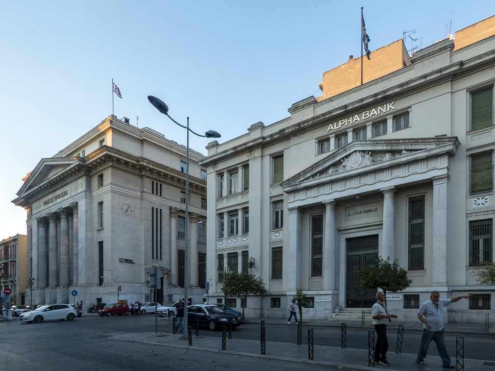 Buildings of the National Bank of Greece, Bank of Greece, and Ionian Bank (Alpha Bank) on Eleftherias Square, Thessaloniki