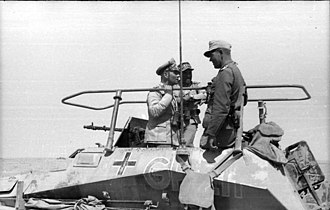 Second Battle of El Alamein - Erwin Rommel (left) in his command halftrack, SdKfz.250/3.