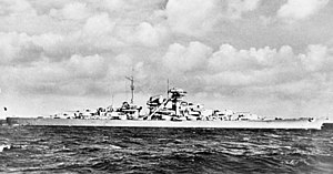 German battleship Bismarck - Bismarck on trials; the rangefinders had not yet been installed