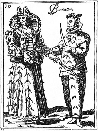Burattino - Burattino, 1594 engraving from Duchartre, p. 301