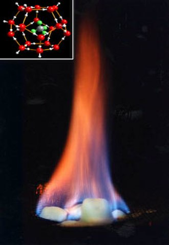 Methane clathrate - Image: Burning hydrate inlay US Office Naval Research