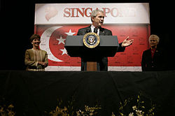 George W. Bush, flanked by a man and a woman, is standing in front of the flag of Singapore, which had been defaced with numerous small lion symbols.