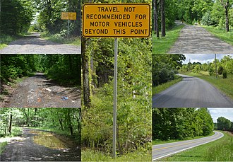 Byrd Road Act - Variations in the quality of secondary state highways.  All photos in this montage were taken on State Route 715 in Franklin County; some spots are unsuitable for small cars (left), while others are good-quality highways (right)