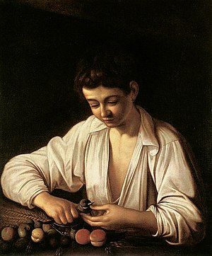 Chronology of works by Caravaggio - Image: CARAVAGGIO, A boy peeling fruit (1593)