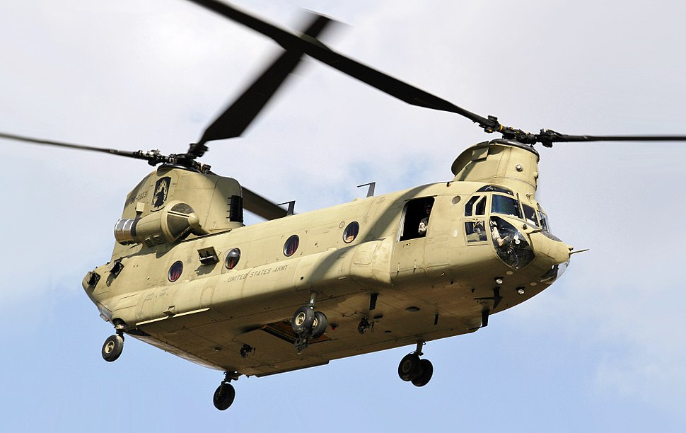 CH-47 Chinook helicopter flyby