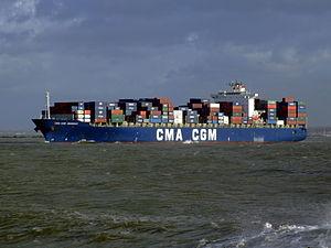 CMA CGM Debussy p2, leaving Port of Rotterdam, Holland 21-Jan-2007.jpg