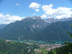 Calalzo di Cadore and surrounding mountains
