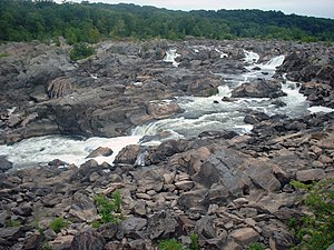 Olmsted Island - Image 3: The view from the tourist walkway on Olmsted Island overlooking the Great Falls of the Potomac River.