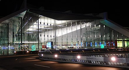 Canberra International Airport terminal Canberra Airport Night.jpg