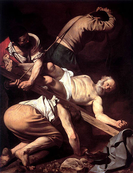 Caravaggio's depiction of the crucifixion of Saint Peter.